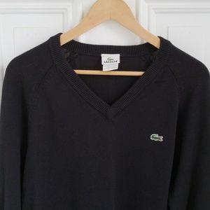 Mens Lacoste Black V Neck cotton sweater size L